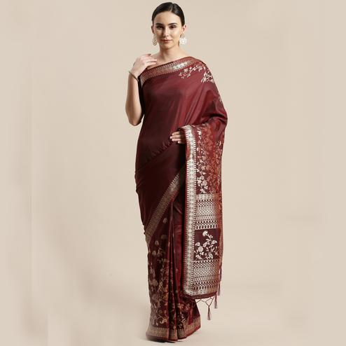 Graceful Brown Colored Festive Wear Silk Blend Woven Floral Saree With Tassels