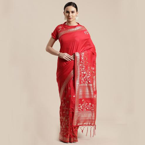 Blooming Red Colored Festive Wear Silk Blend Woven Floral Saree With Tassels