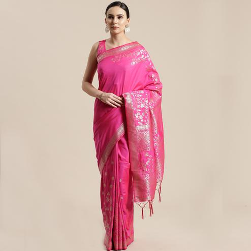 Jazzy Pink Colored Festive Wear Silk Blend Woven Floral Saree With Tassels