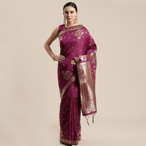 Engrossing Wine Colored Festive Wear Silk Blend Woven Floral Saree With Tassels