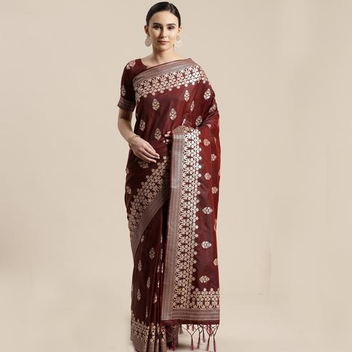 Eye-catching Brown Colored Festive Wear Silk Blend Woven Floral Saree With Tassels