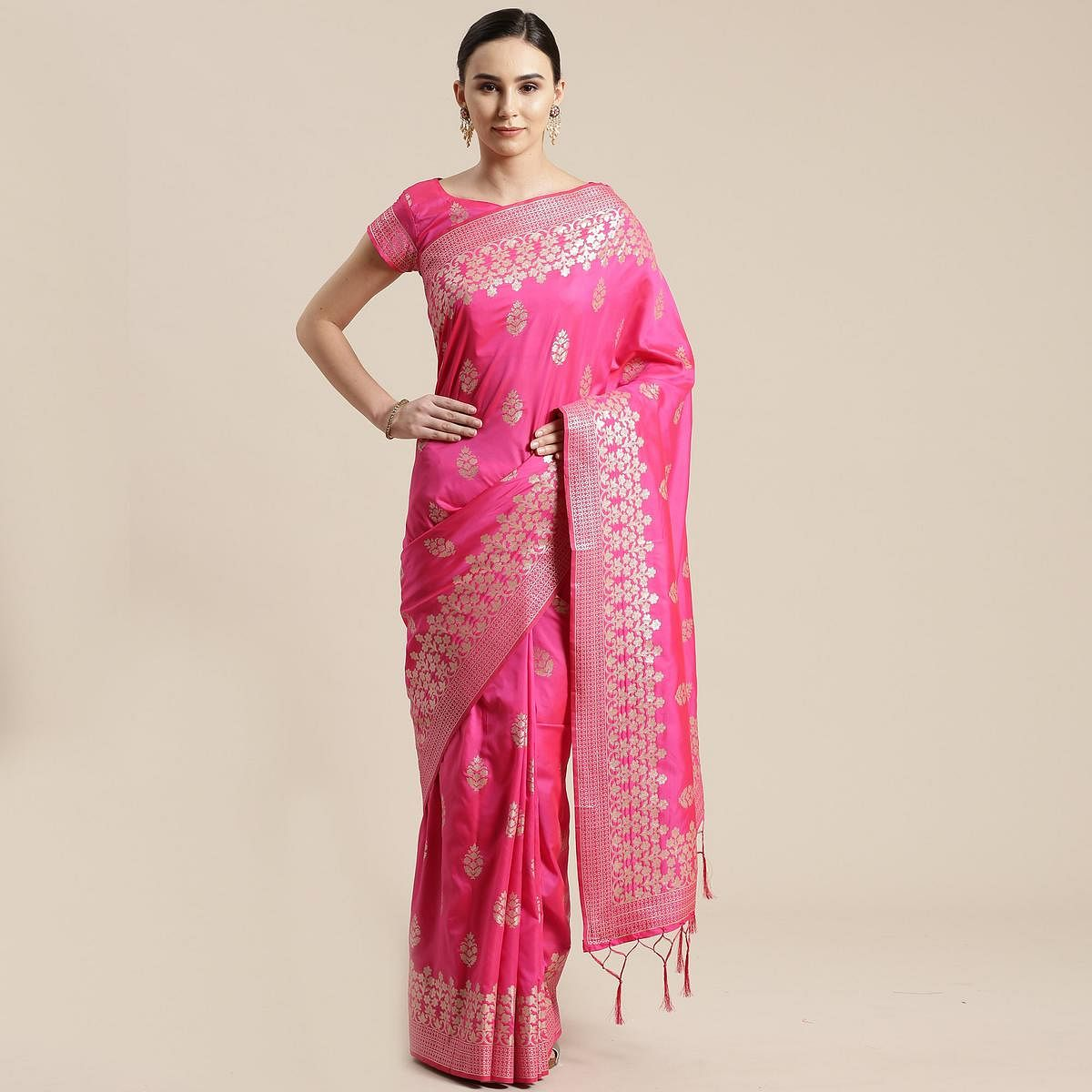 Fantastic Pink Colored Festive Wear Silk Blend Woven Floral Saree With Tassels