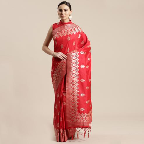 Gorgeous Red Colored Festive Wear Silk Blend Woven Floral Saree With Tassels
