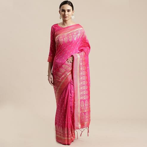 Lovely Pink Colored Festive Wear Silk Blend Woven Floral Saree With Tassels