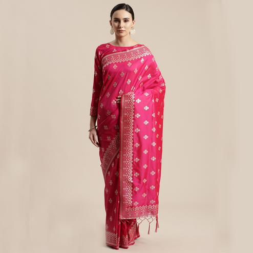 Pleasance Pink Colored Festive Wear Silk Blend Woven Floral Saree With Tassels