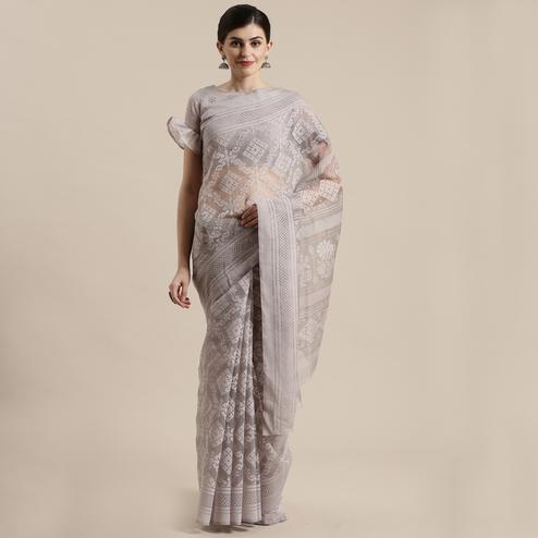 Dazzling Grey Colored Party Wear Geometric Brasso Saree