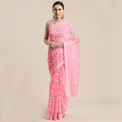 Sophisticated Pink Colored Party Wear Geometric Brasso Saree