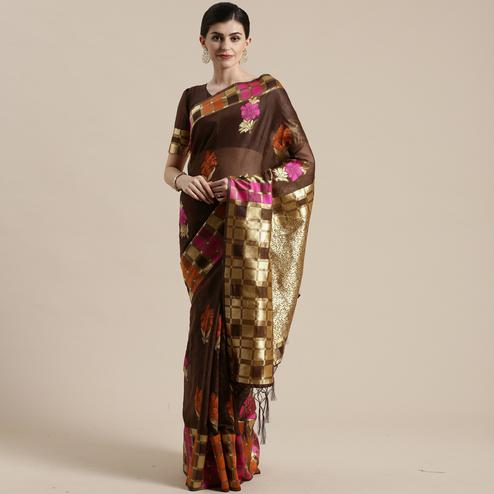 Elegant Brown Colored Festive Wear Woven Floral Cotton Silk Saree With Tassels