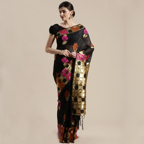 Radiant Black Colored Festive Wear Woven Floral Cotton Silk Saree With Tassels