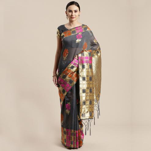 Pleasant Grey Colored Festive Wear Woven Floral Cotton Silk Saree With Tassels