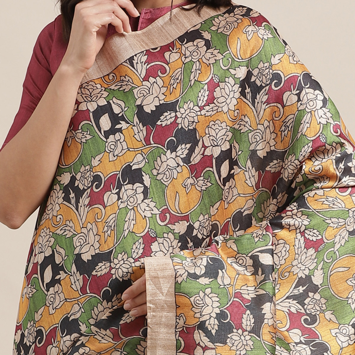 Glowing Beige-Multi Colored Casual Wear Floral Printed Silk Blend Saree With Tassels