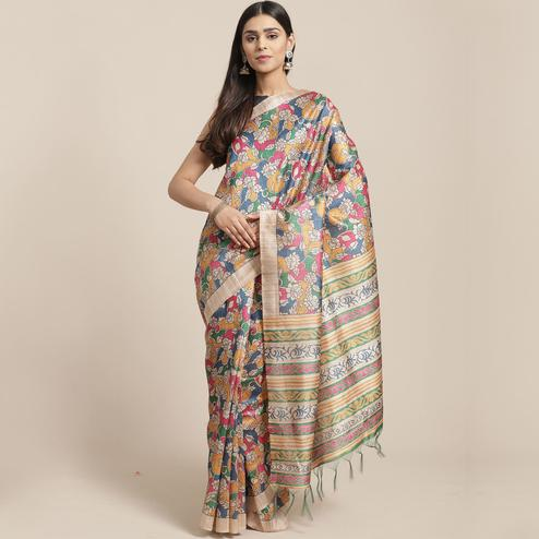 Exceptional Beige-Multi Colored Casual Wear Floral Printed Silk Blend Saree With Tassels