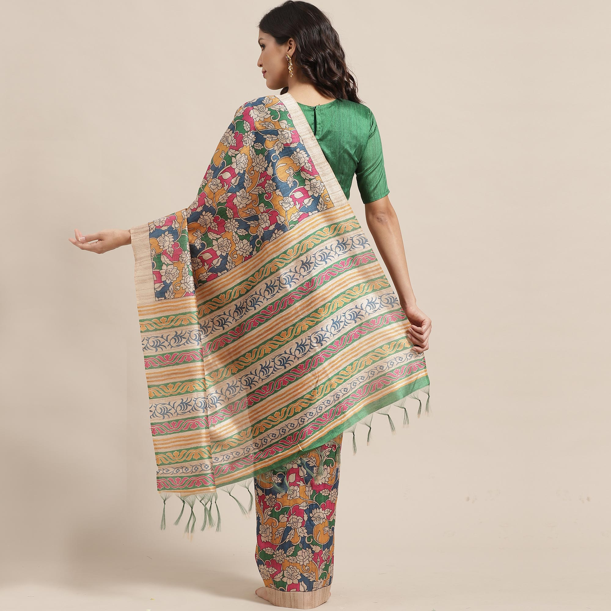 Gleaming Beige-Multi Colored Casual Wear Floral Printed Silk Blend Saree With Tassels