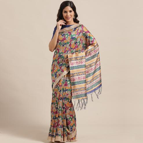 Mesmeric Beige-Multi Colored Casual Wear Floral Printed Silk Blend Saree With Tassels