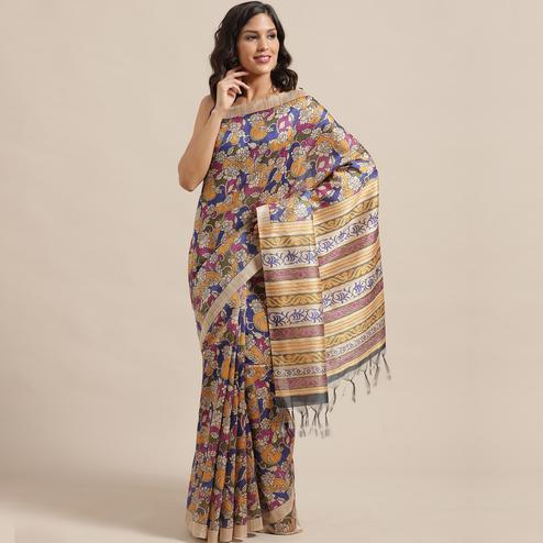 Unique Beige-Multi Colored Casual Wear Floral Printed Silk Blend Saree With Tassels