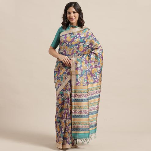 Demanding Beige-Multi Colored Casual Wear Floral Printed Silk Blend Saree With Tassels