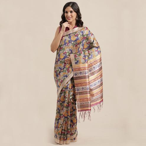 Refreshing Beige-Multi Colored Casual Wear Floral Printed Silk Blend Saree With Tassels