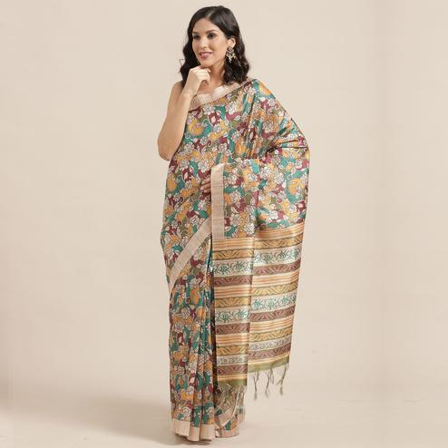 Magnetic Beige-Multi Colored Casual Wear Floral Printed Silk Blend Saree With Tassels