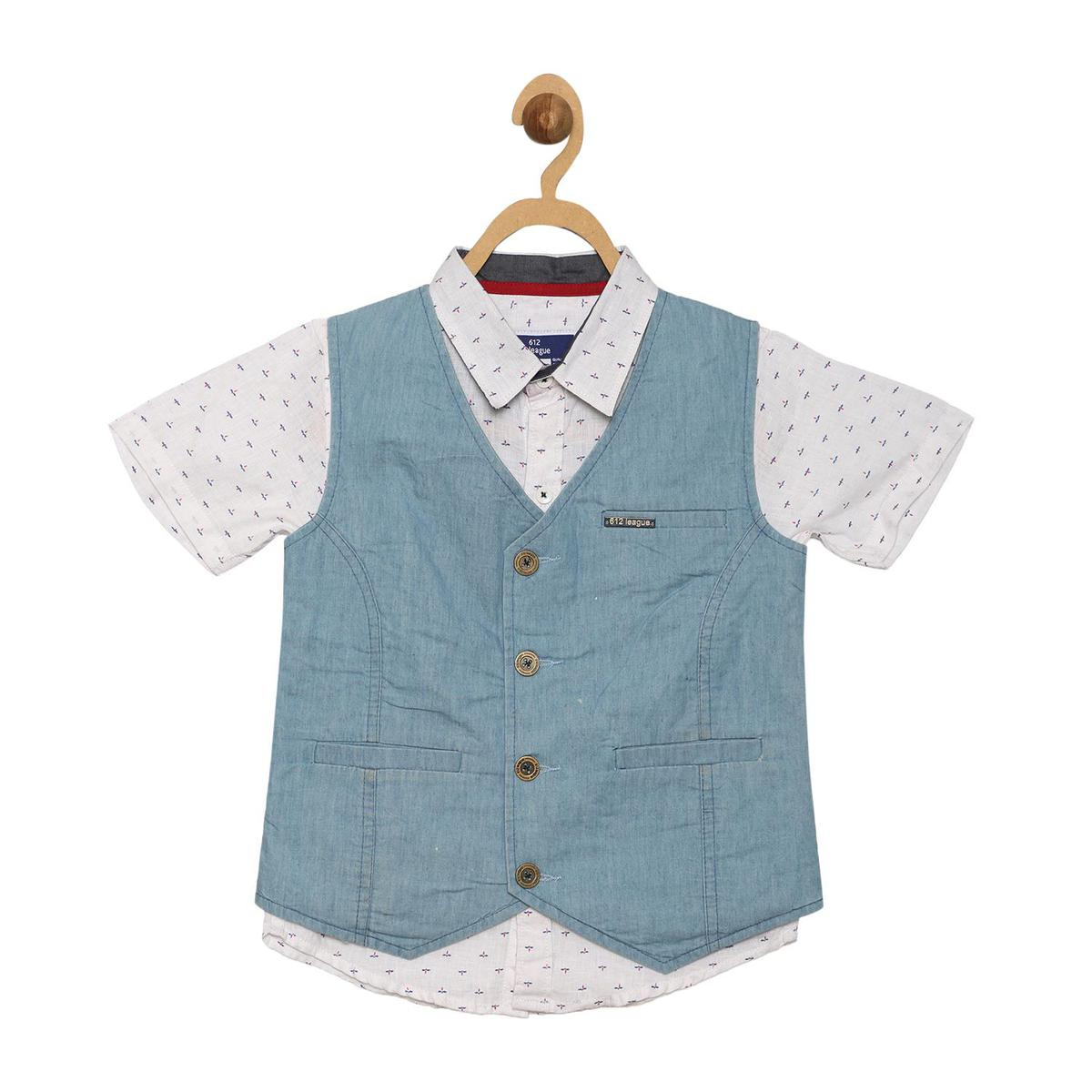 612 League - White Colored Printed Shirt With Denim Waist Coat For Boys