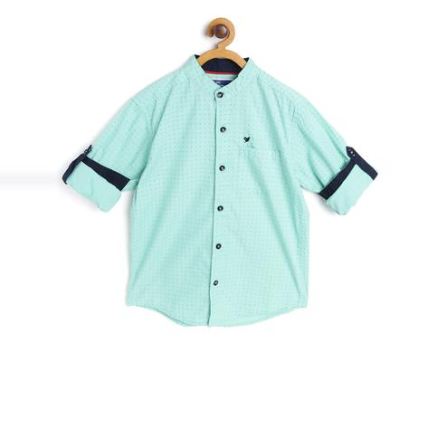 612 League - Light Green Colored Woven Printed F/S Cotton Shirt For Boys
