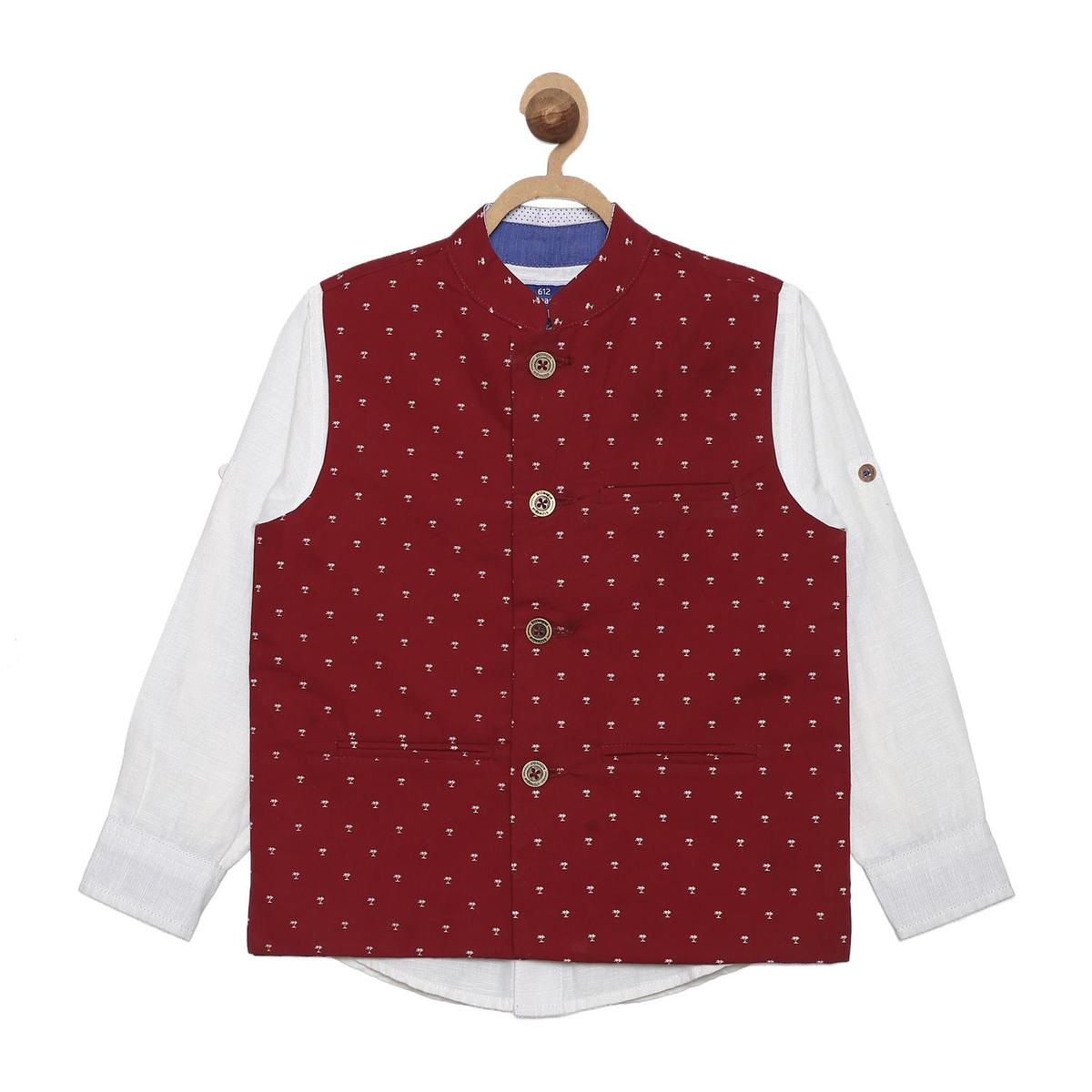 612 League - Maroon Colored Cotton Solid Shirt With Printed Waist Coat For Boys