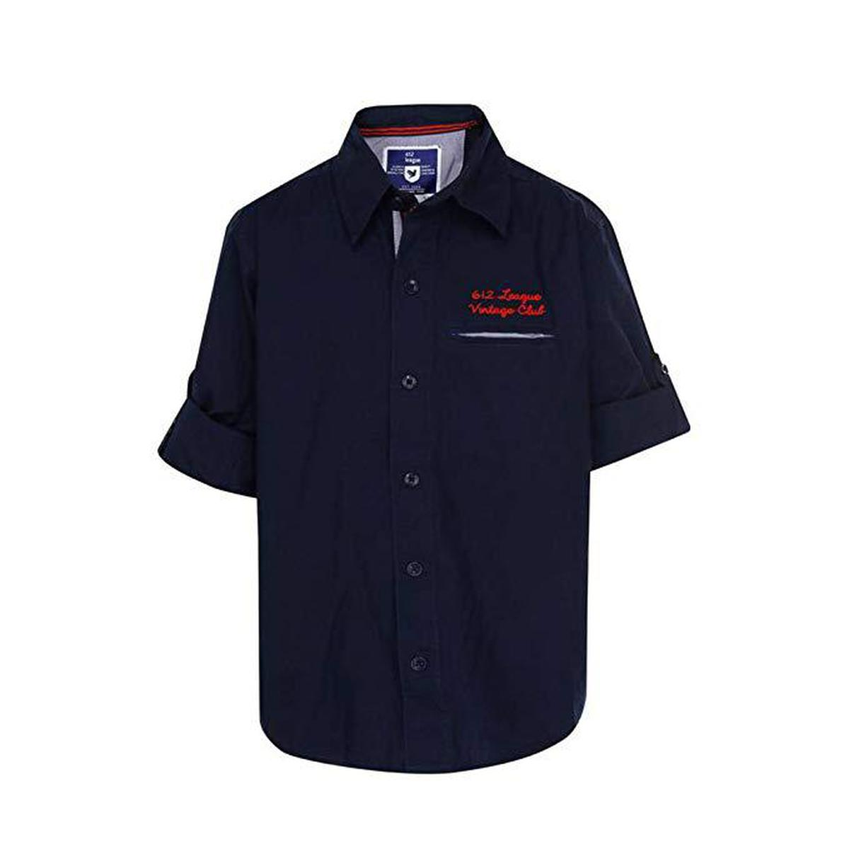 612 League - Navy Colored Solid F/S With Emb Shirts For Boys
