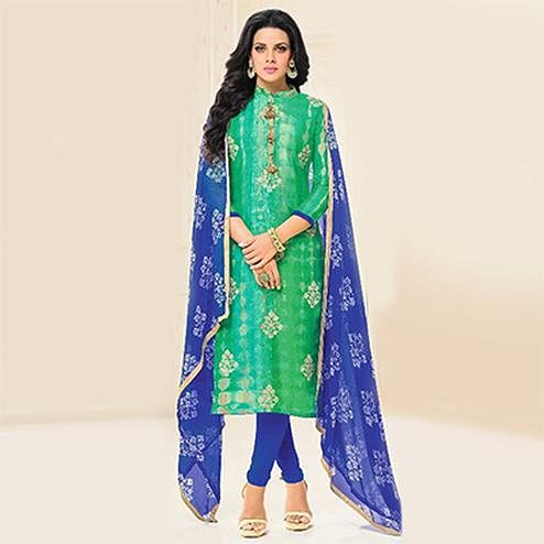 Green - Blue Cotton Salwar Suit With Printed Dupatta