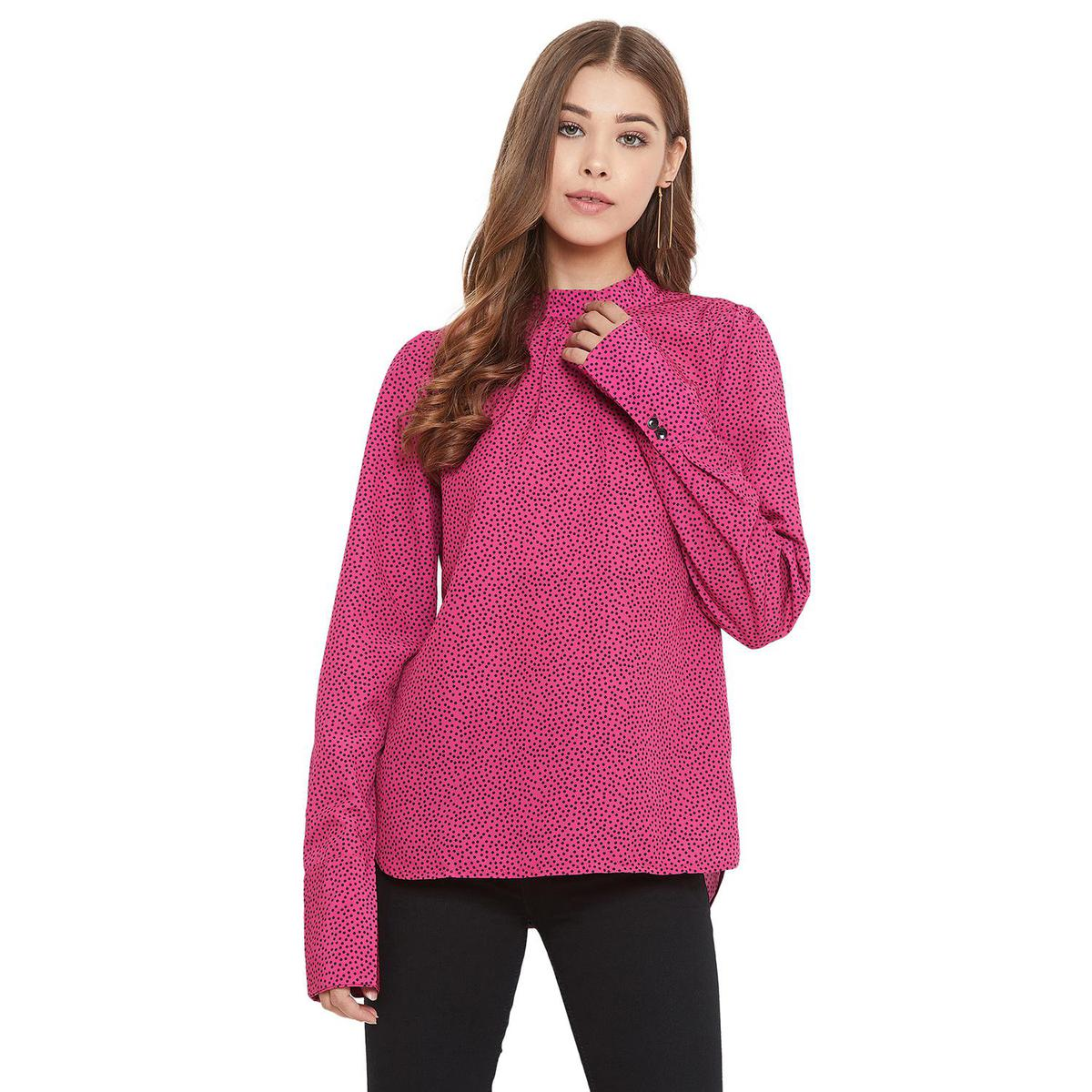 Weave & Knits - Pink Colored Casual Wear Polka Dot Printed Polyester Top