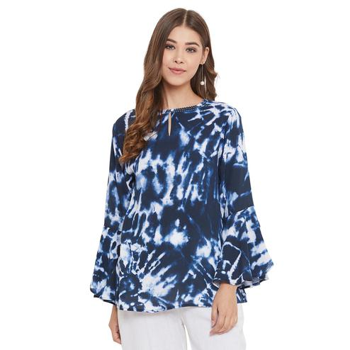 Weave & Knits - Blue Colored Casual Wear Printed Viscose Rayon Top