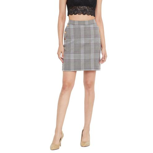 Weave & Knits - Grey Colored Checked Printed Knee Length Cotton Skirts