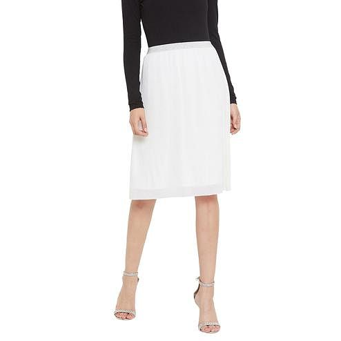 Weave & Knits - White Colored Knee Length Polyester Skirts