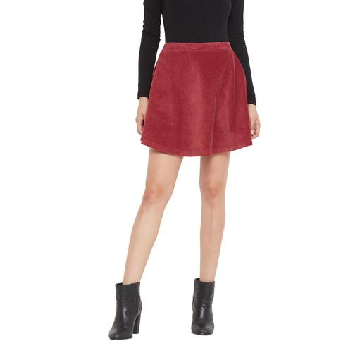 Weave & Knits - Maroon Color Cordruoy Plain Knee Length Cotton Skirts