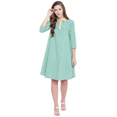 Fabnest - Green Colored Casual Wear Checked Printed Cotton Dress