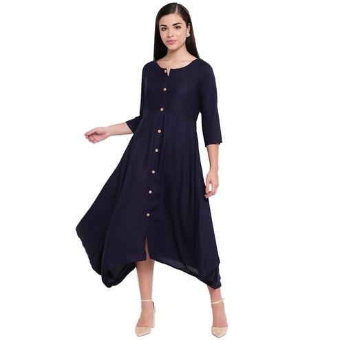 Fabnest - Dark Blue Colored Casual Wear Rayon Dress