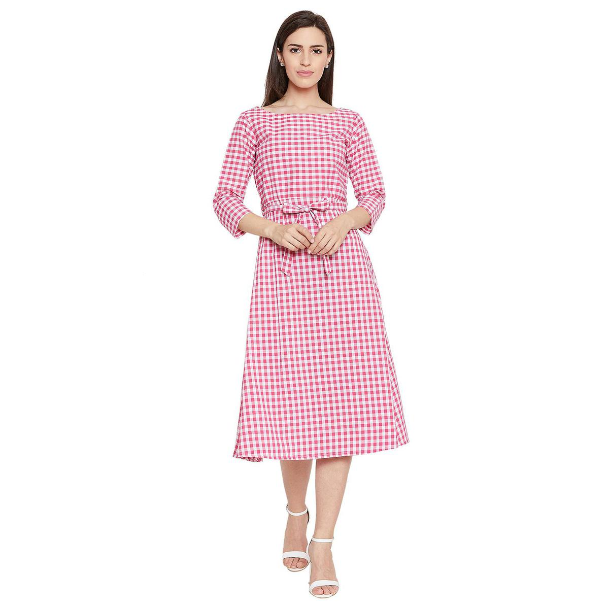 Fabnest - Pink Colored Casual Wear Checked Printed Cotton Dress
