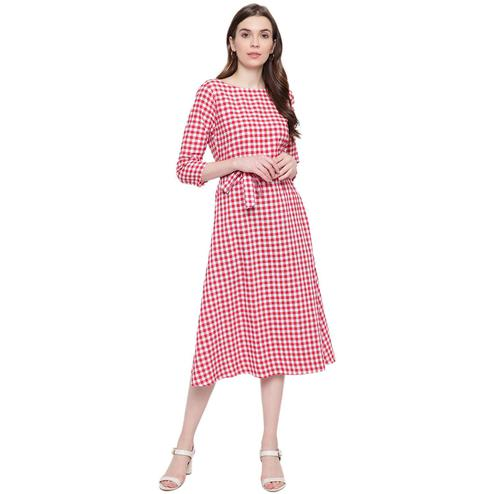 Fabnest - Red Colored Casual Wear Checked Printed Cotton Dress