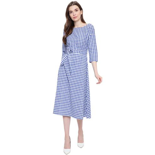 Fabnest - Blue Colored Casual Wear Checked Printed Cotton Dress