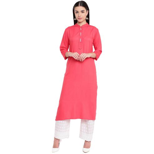 Fabnest - Pink Colored Casual Wear Rayon Kurti
