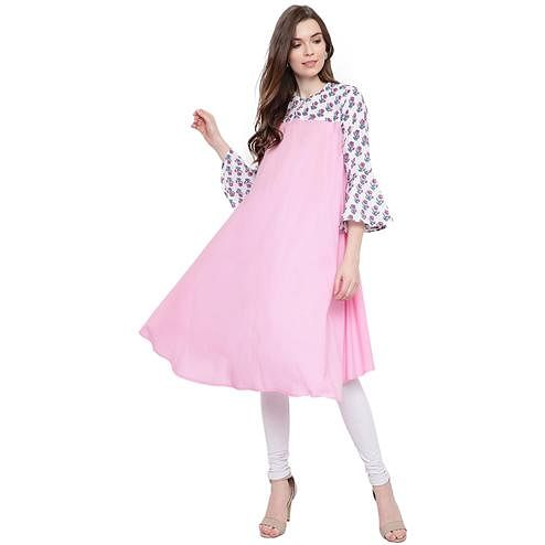 Fabnest - Pink Colored Casual Wear Cotton Kurti