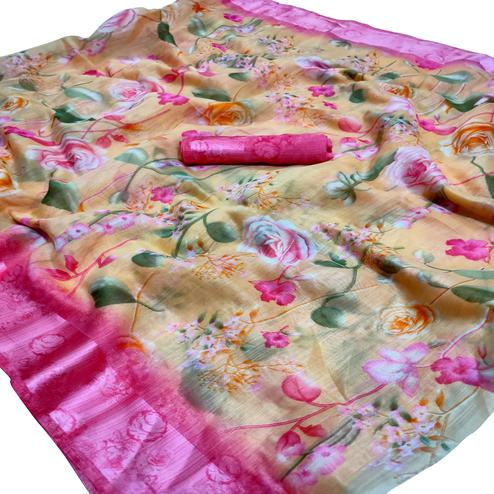Sensational Peach Colored Casual Wear Floral Printed Linen Saree