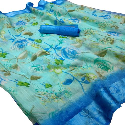 Flaunt Sky Blue Colored Casual Wear Floral Printed Linen Saree