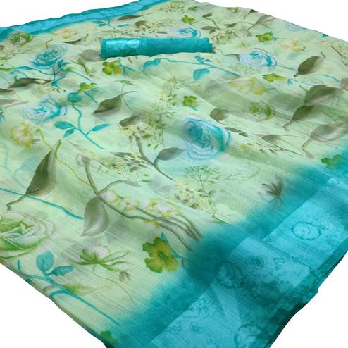Stunning Offwhite Colored Casual Wear Floral Printed Linen Saree