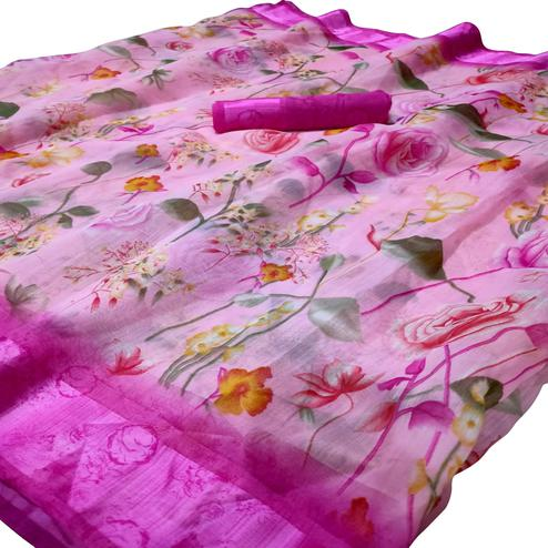 Flirty Pink Colored Casual Wear Floral Printed Linen Saree