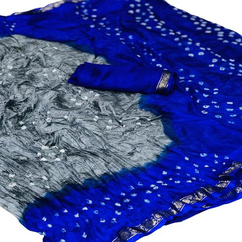 Breathtaking Grey-Blue Colored Festive Wear Bandhani Printed Silk Cotton Saree