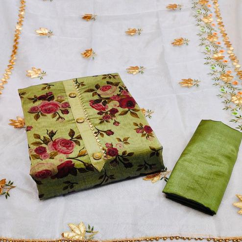 Radiant Green Colored Partywear Floral Printed Chanderi Dress Material
