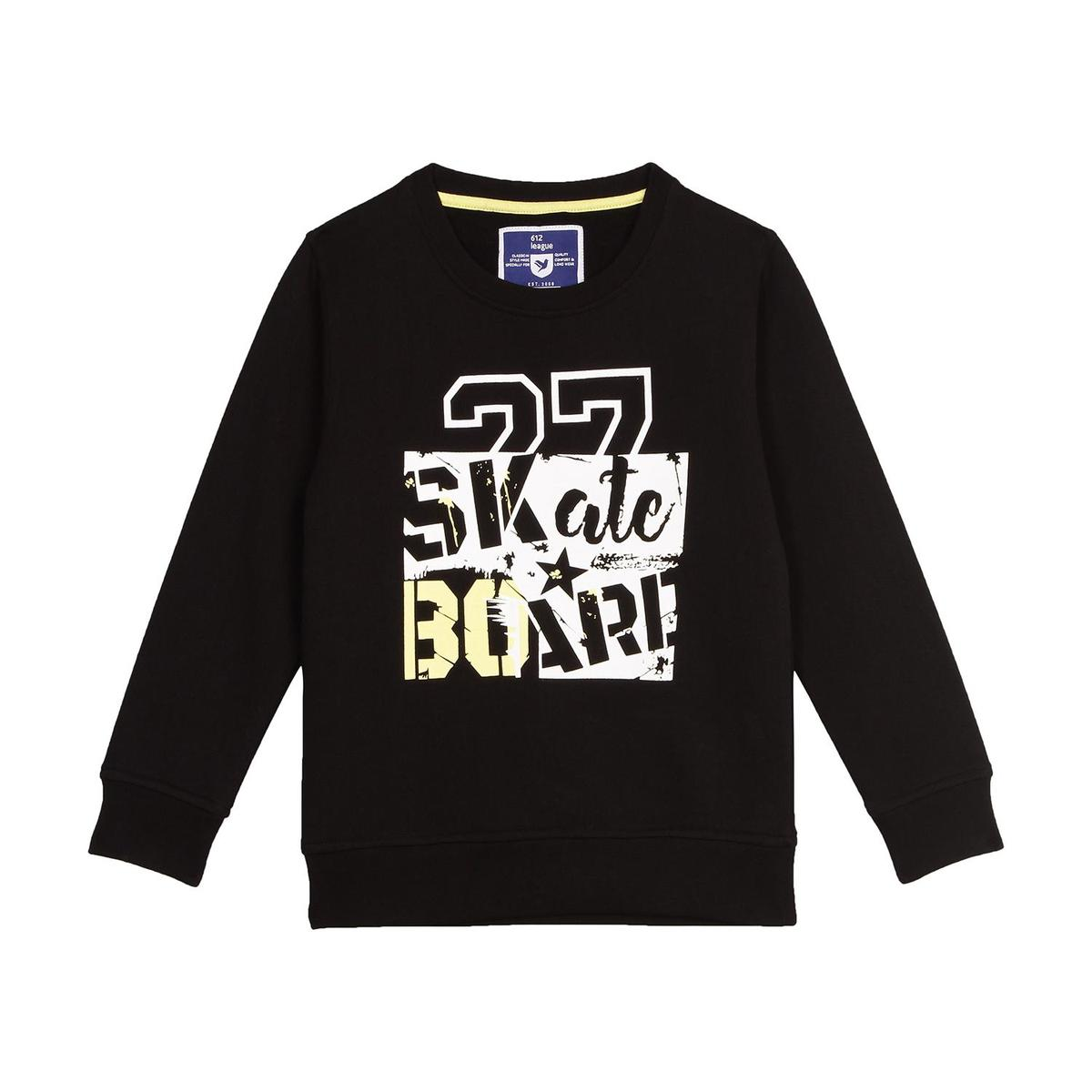 612 League - Black Colored R-neck French Terry Knit Graphic Cotton Sweatshirt For Boys