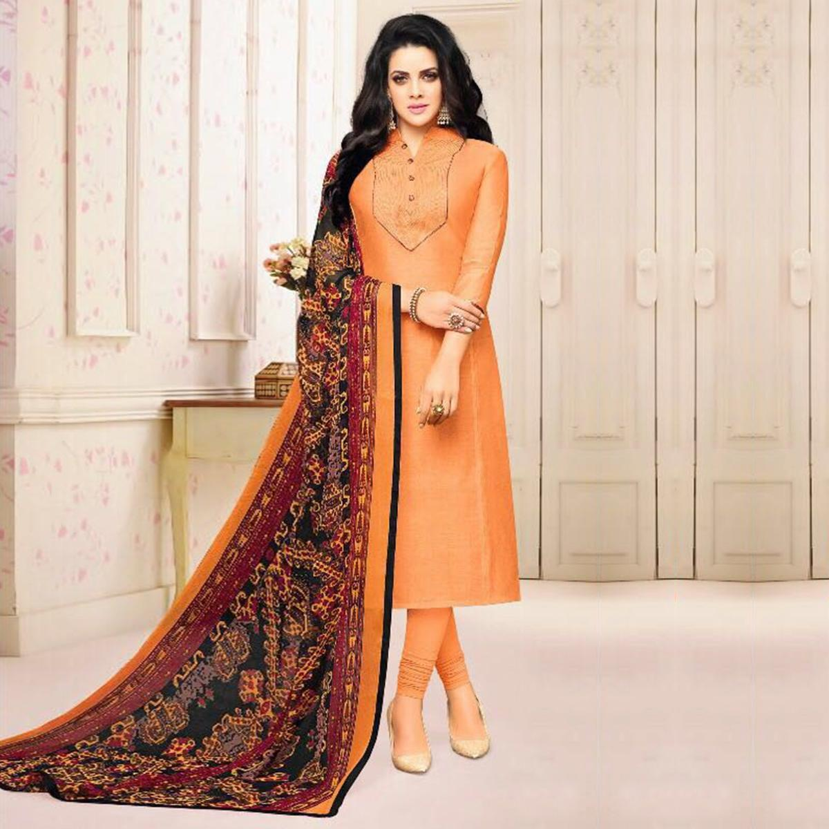 Peach Color Chanderi Straight Cut Suit With Printed Dupatta