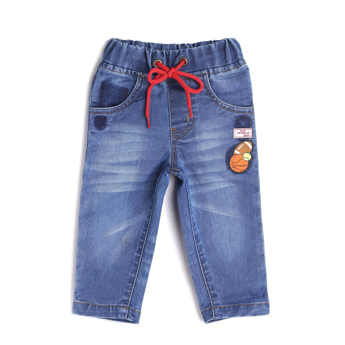 612 League - Blue Colored Bottoms Elasticated Denim With Stripe Pocket Cotton Jeans For Baby Boys