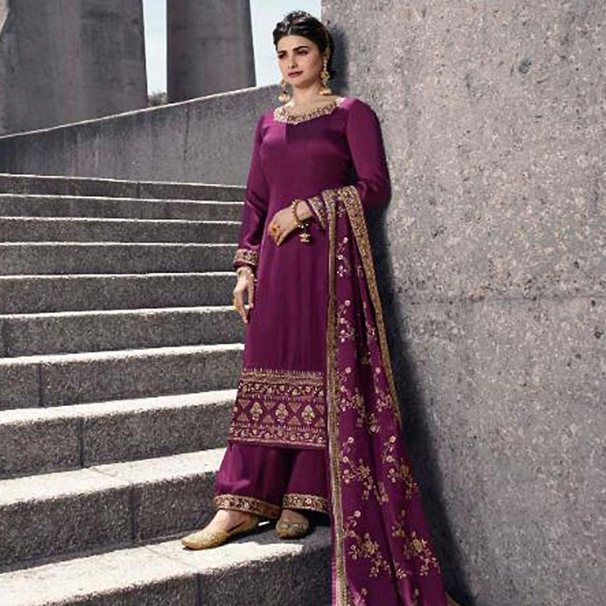 Classy Purple Colored Partywear Embroidered Satin Georgette Abaya Style Palazzo Suit