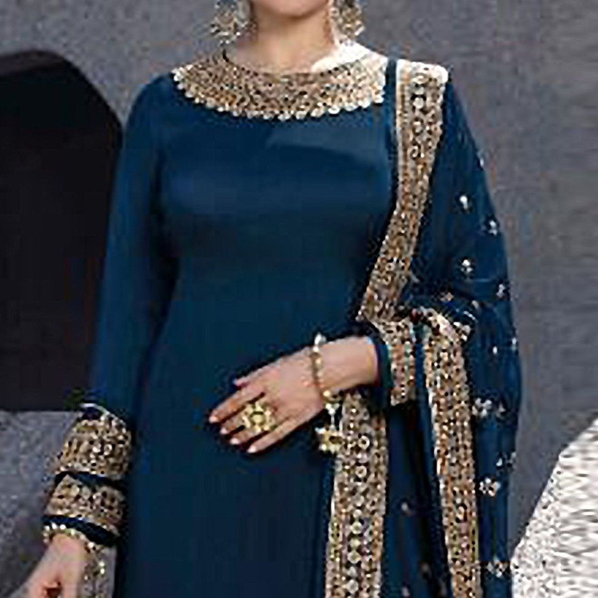 Prominent Navy Blue Colored Partywear Embroidered Satin Georgette Abaya Style Palazzo Suit